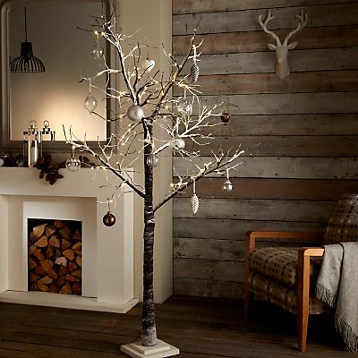 Pre Lit Cool White Led Christmas Twig Tree 4ft 125cm By