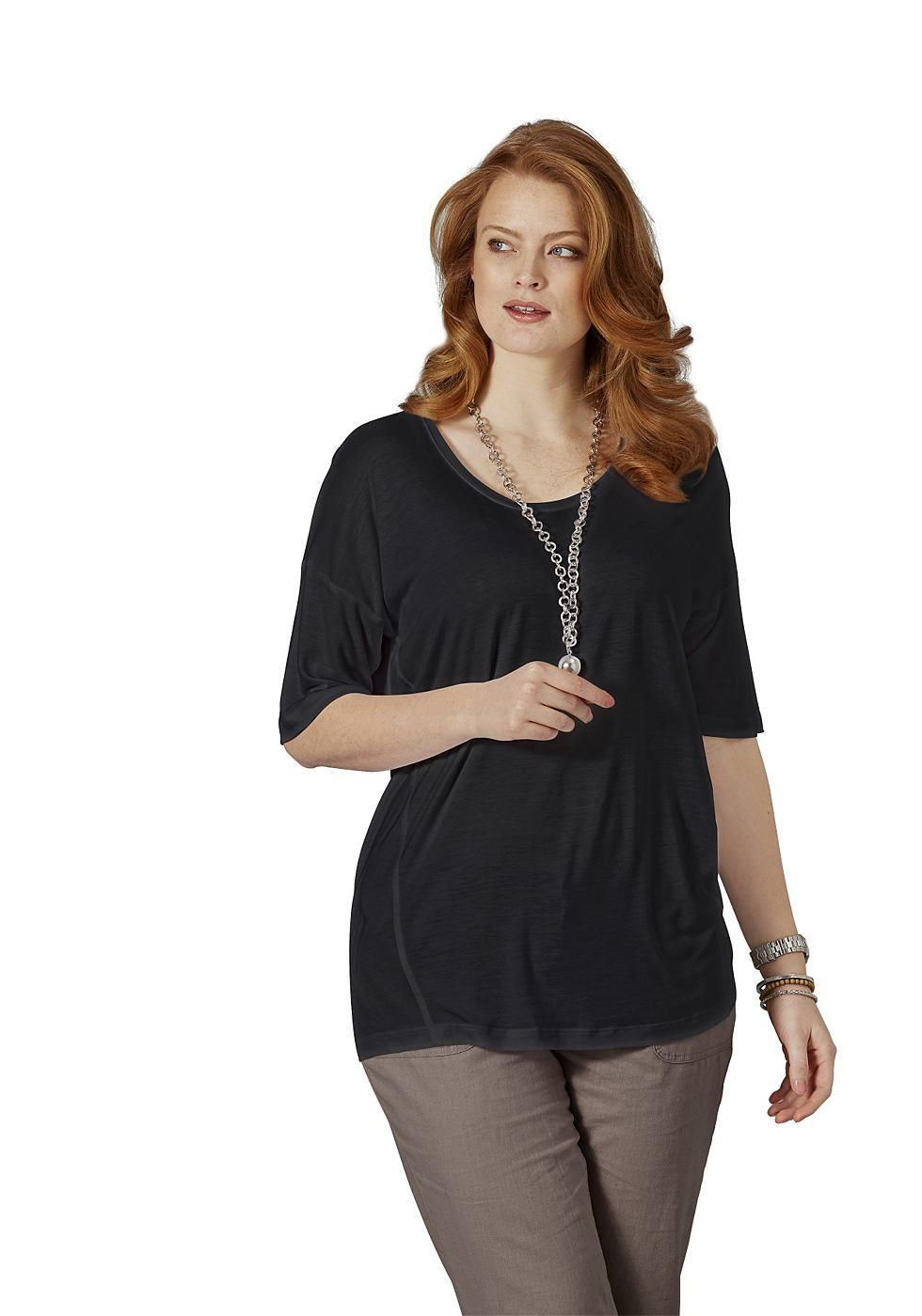Typ , Shirt, |Materialzusammensetzung , 100% Viskose, |Passform , figurumspielend, hüftbedeckend, |Ausschnitt , Rundhalsausschnitt, |Ärmelstil , überschnittene Ärmeln, |Gesamtlänge , größenangepasste Länge von ca. 70 bis 78 cm, | ...