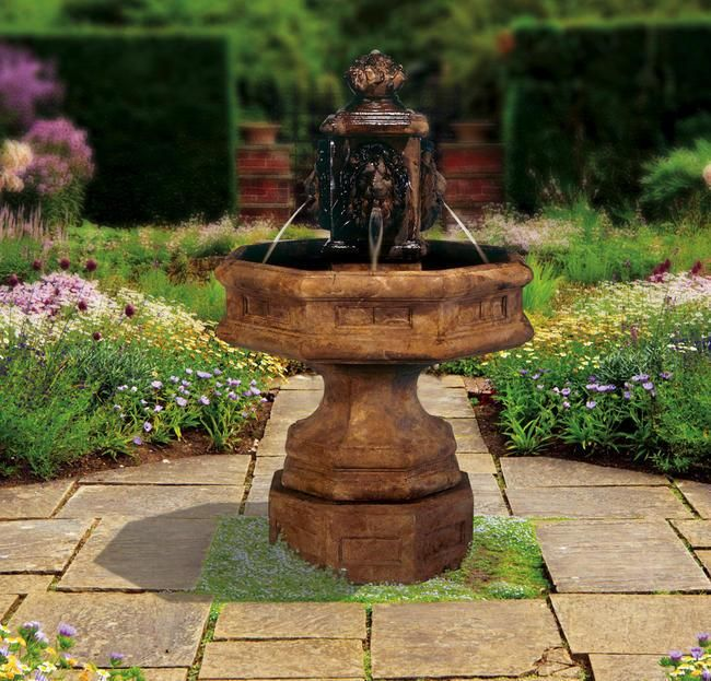 Clical Lion Cast Stone Outdoor Fountain