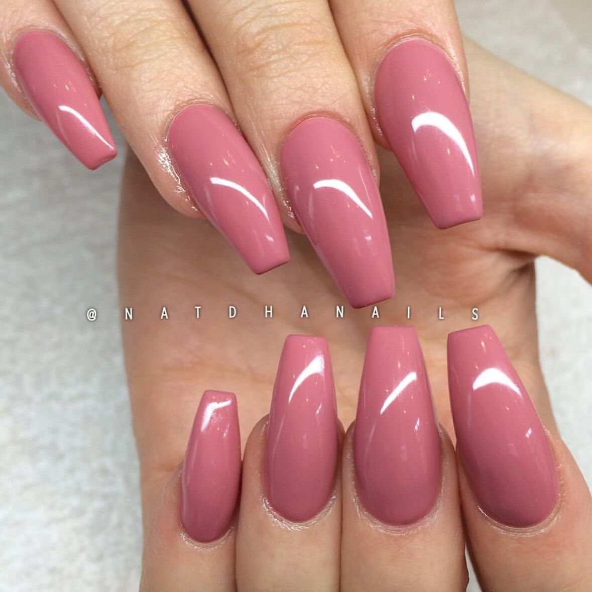 Acrylic Nail Art Rose: Rose Colored Coffin Nails - Stunning!