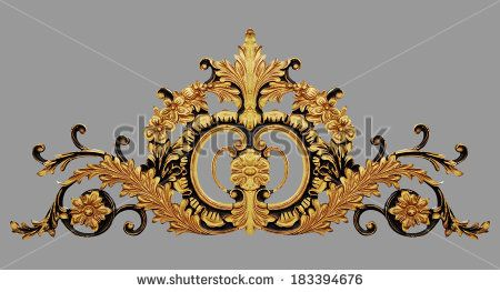 Ornament elements, vintage gold floral designs - stock photo
