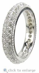 Bellgica Double Row Pave Milgrain Cubic Zirconia Eternity Band in 14k white gold by Ziamond. #ziamond #cubiczirconia #wedding #ring #pave #eternity #band