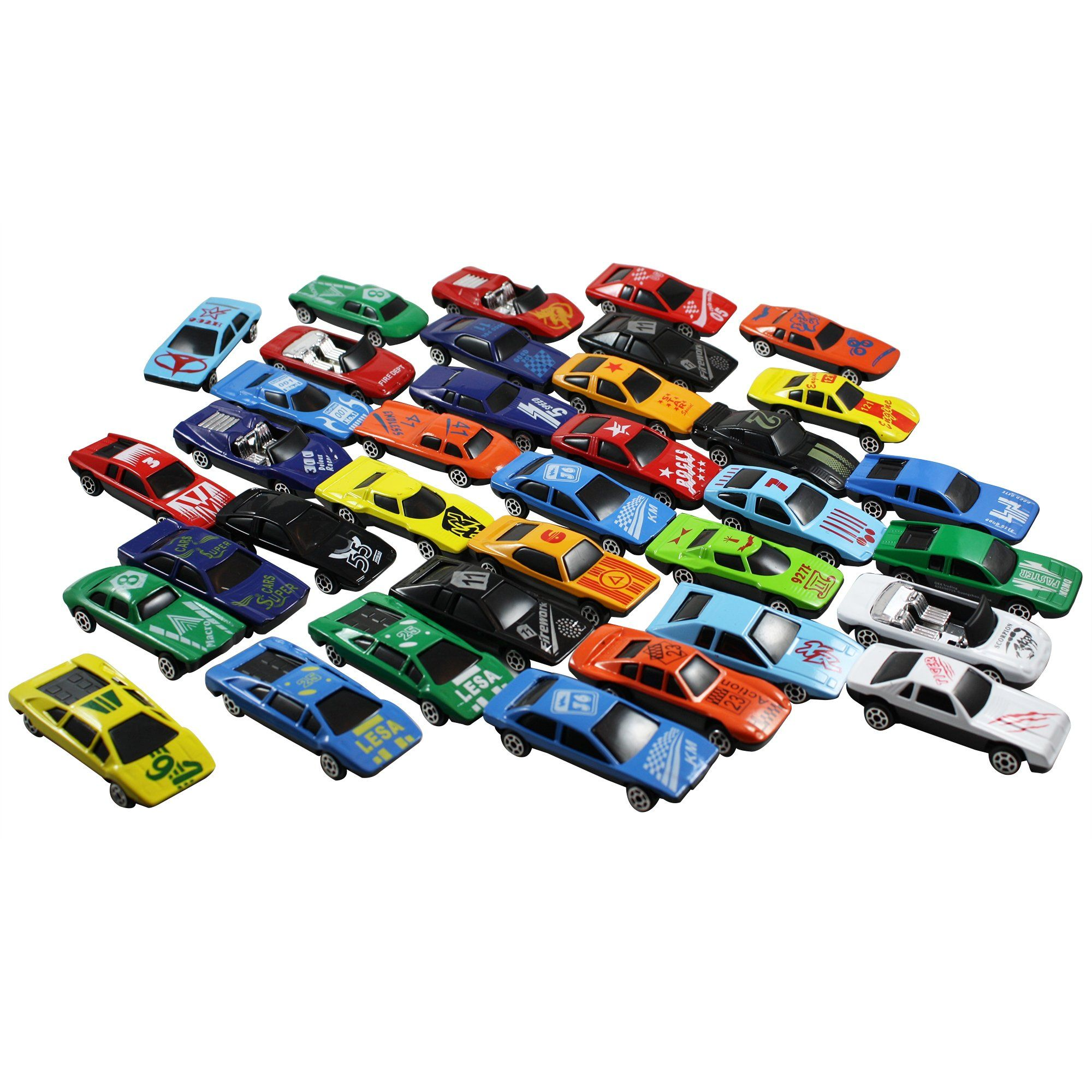 Race Car Toys Assorted For Kids Boys Or Girls Free Wheeling Die Cast Metal Plastic Toy Cars Set Of 36 Numbered Vehicles Convertibles Gr Car Set Toy Car Toys