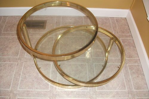 Vintage Brass Glass Swivel Adjustable Three Ring Circle Coffee Table Mid Century | eBay