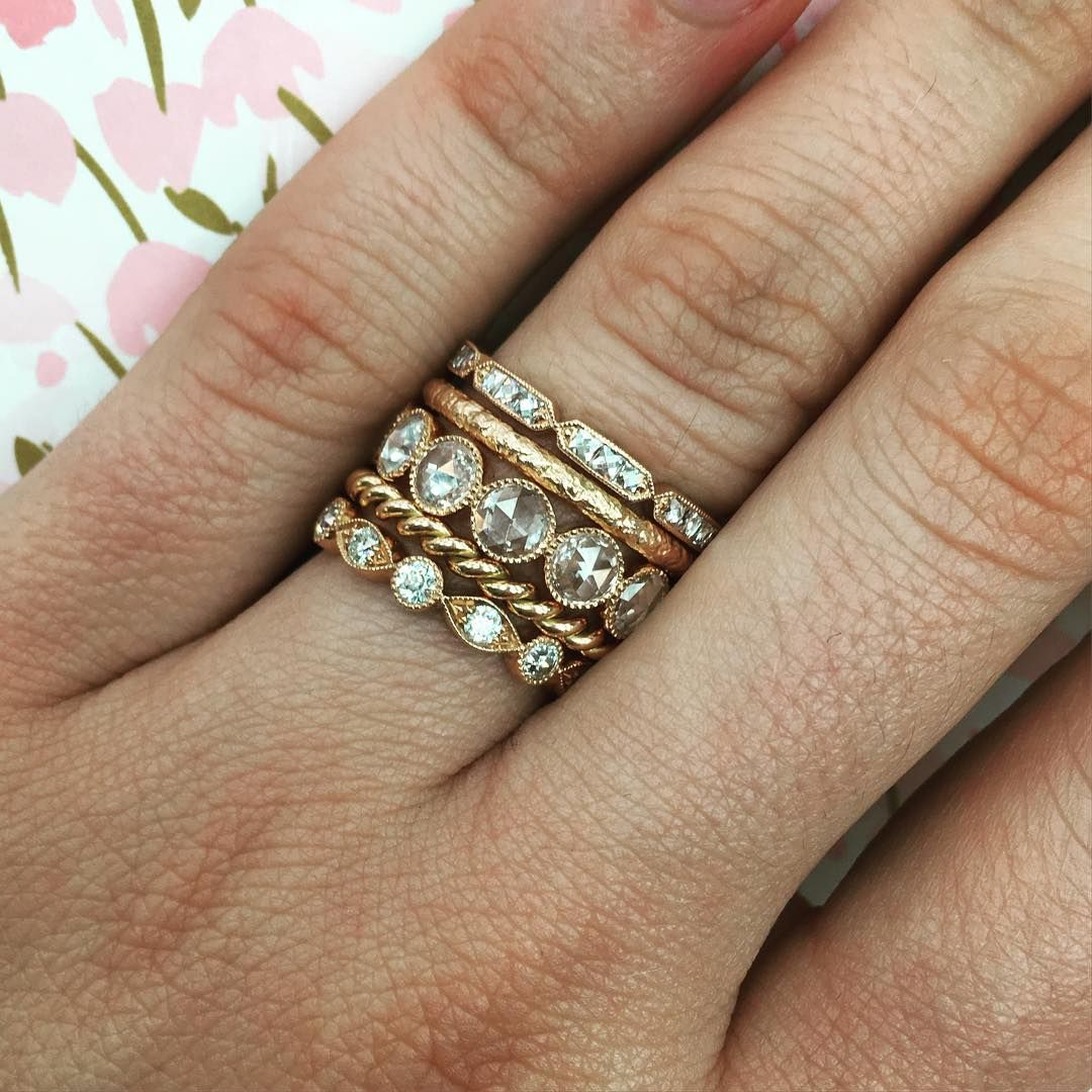 Rose Gold Stacking Bands From Single Stone Swoon Blushing Bride