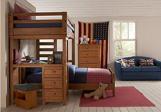 Creekside Taffy 7 Pc Twin Twin Student Loft Bedroom W Desk Bunk Beds Boys Bedroom Furniture Boys Bedroom Furniture Sets