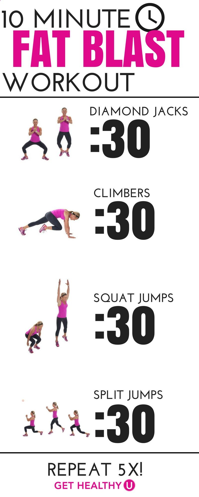 All you'll need for this quick, fat blasting routine is a little room to move around and 10 minutes. Because these are all high intensity moves, you will be breathing heavy after the first 2-minute round. You will then rest for 1 minute (you can thank me later) and repeat this sequence 3 times. The plyometric moves (jumping) work to get your heart rate elevated and help you burn fat faster!