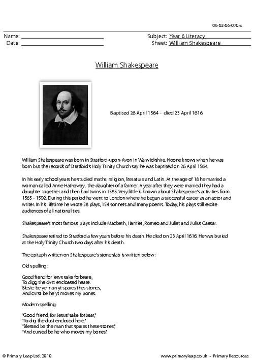 PrimaryLeap.co.uk - Reading comprehension - William Shakespeare ...