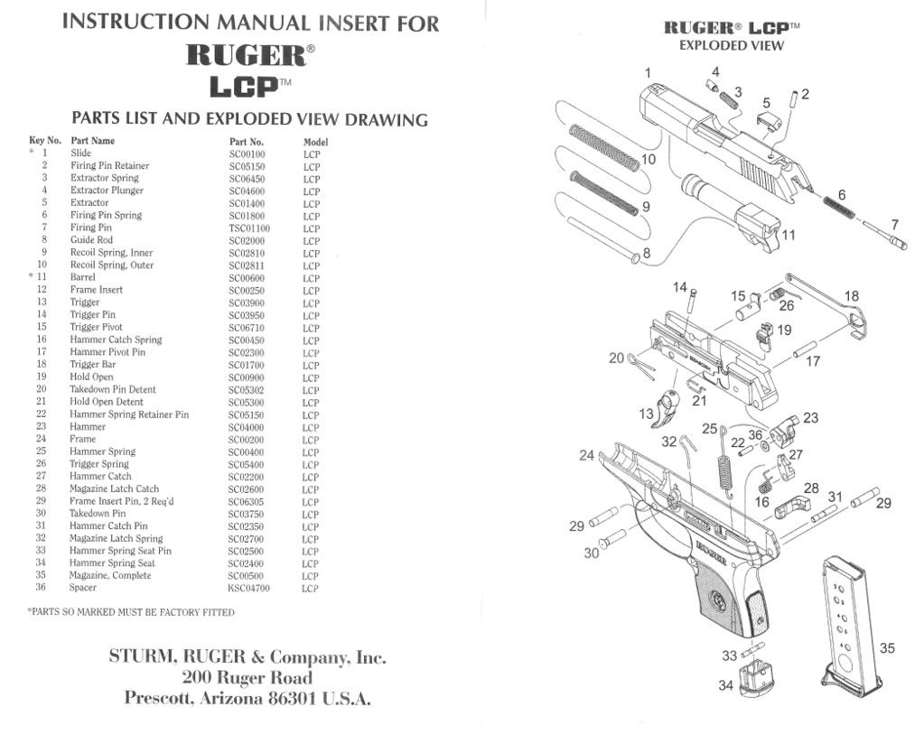 Ruger LCP Exploded Diagram | Firearms | Pinterest