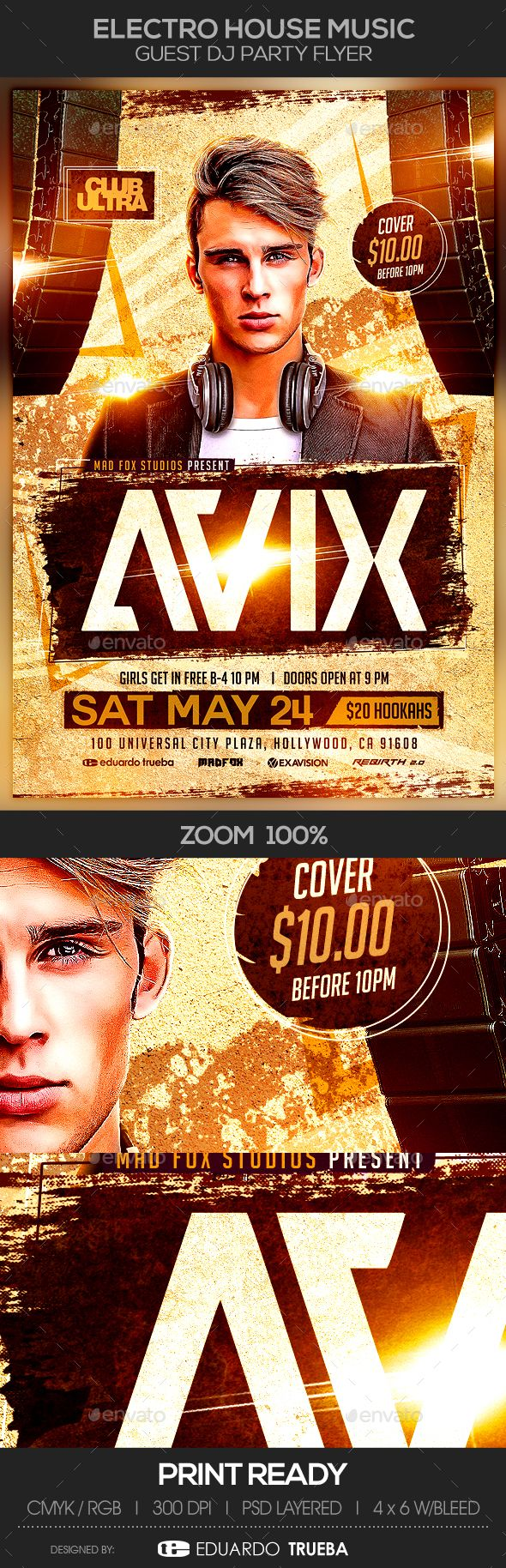 Electro House Music Guest Dj Party Flyer Party Flyer Electro House Music Dj Party
