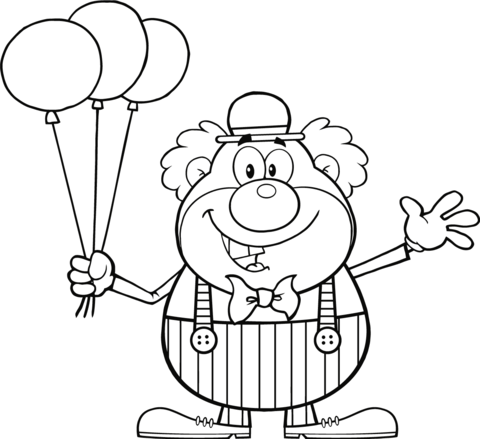 Clown With Balloons Coloring Page From Circus Category Select From 24848 Printable Crafts Monster Coloring Pages Bunny Coloring Pages Geometric Coloring Pages