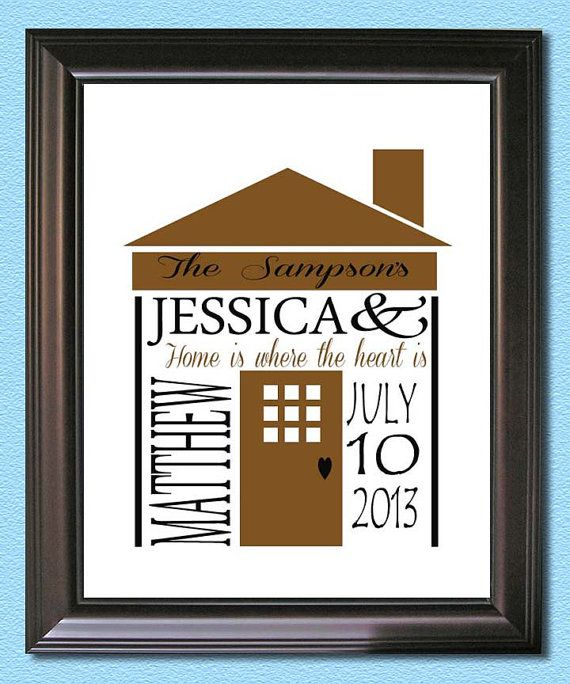 Personalized Housewarming New Home Gift Print Home Is