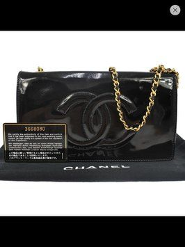 622d2cf5df9e Wallet on Chain Patent Woc Gold Black Cross Body Bag   Craving: Chanel