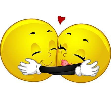 Photo of Mascot illustration of a pair of smileys hugging