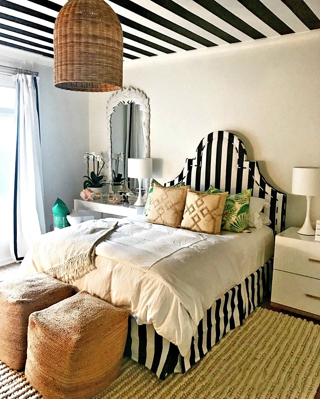 Black & White Striped Ceiling Faux Finish Decorative