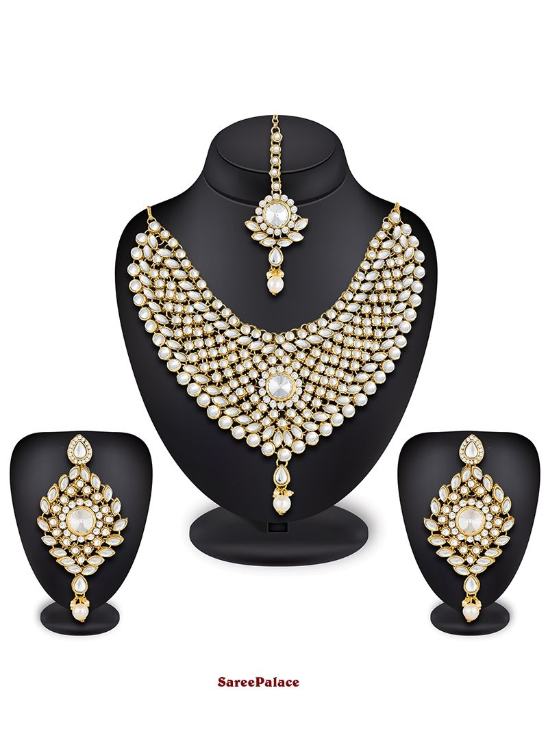 Stone work necklace set in gold necklace set pinterest stone