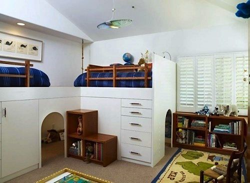 Kids Bedroom With Play Cave Under The Beds! Loft Style Beds Allow For  Plenty Of Play Area Below.