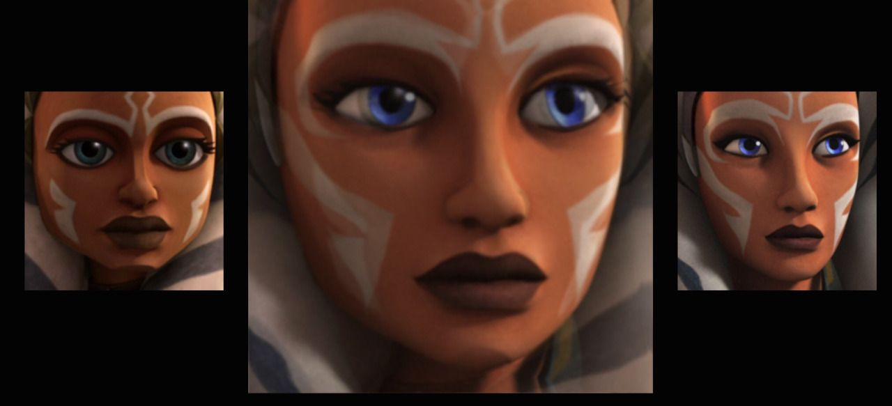 the-flying-elephant:  I was messing with a face-morphing app and maybe this is what Ahsoka would have sort of looked like in her Clone Wars era with Star Wars Rebels animation
