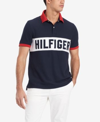 7e005e6b Tommy Hilfiger Men's Custom Fit Logo Graphic Polo, Created for Macy's -  Blue XXL