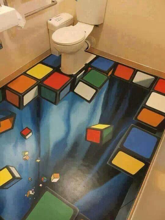 Rubik S Cube 3d Streetart Pinterest Salle Toilettes En