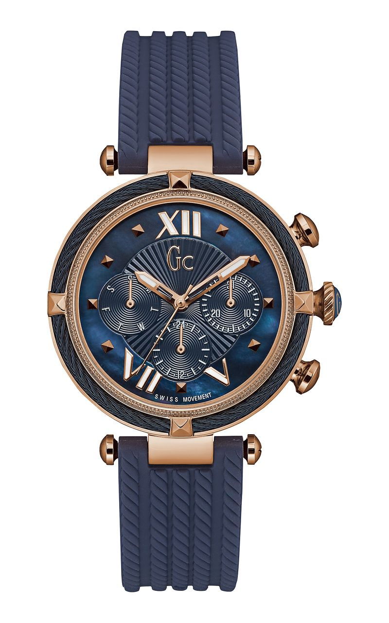 399c4f0f3f WatchO - Gc Ladies Cablechic Blue And Rose Gold Watch Y16005L7