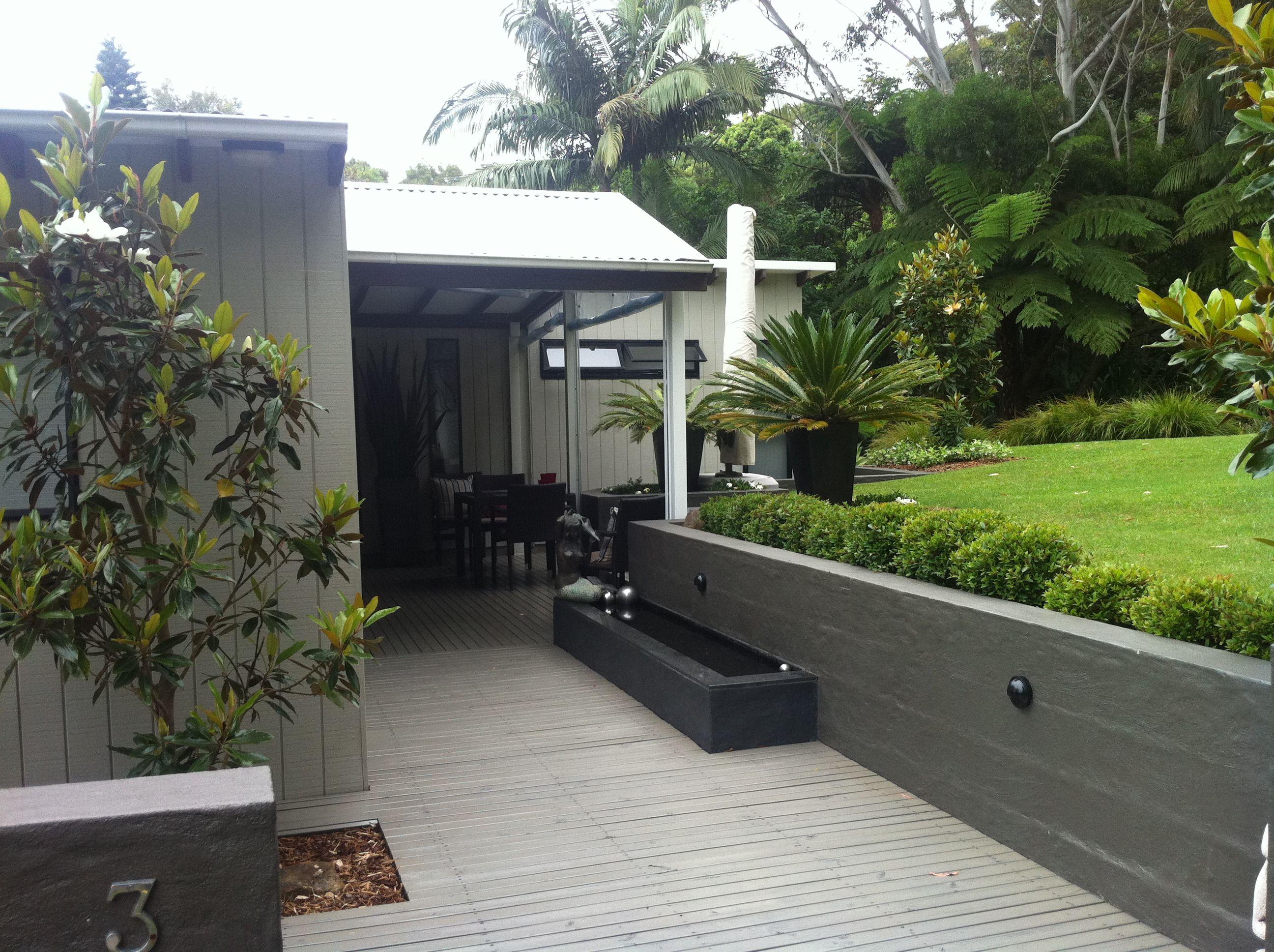 rendered wall resene triple masala water feature wall cabinet grey