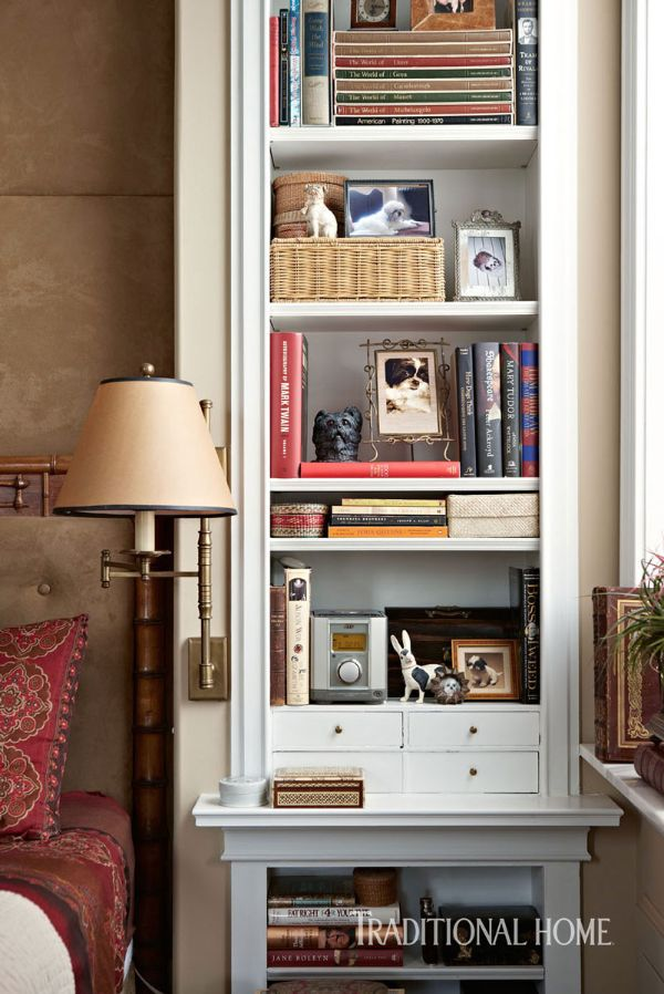 On the side of the bed, a built-in cabinet houses books and leaves empty  wall surface to install a swing-arm lamp, avoiding the need for a  freestanding ...