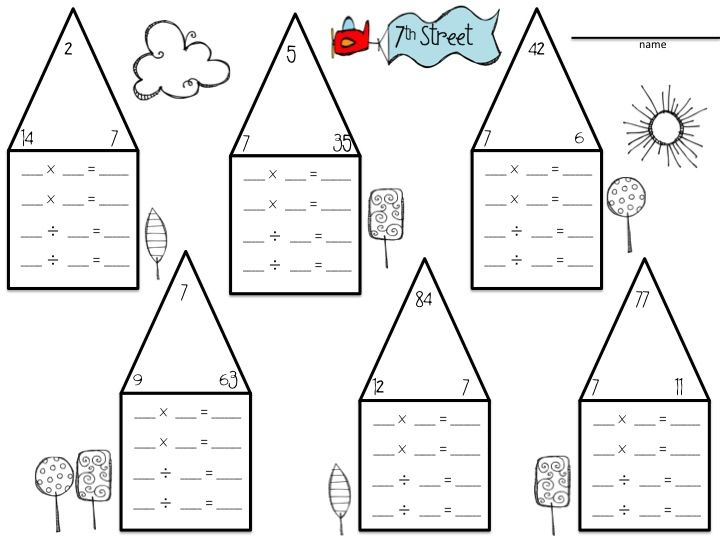 Fact Family Neighborhood activities to help reinforce how – Fact Family Multiplication Worksheets