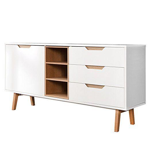 Design Retro Sideboard NORDIC 150cm edelmatt weiß Echt Eiche - schrank wohnzimmer weiß