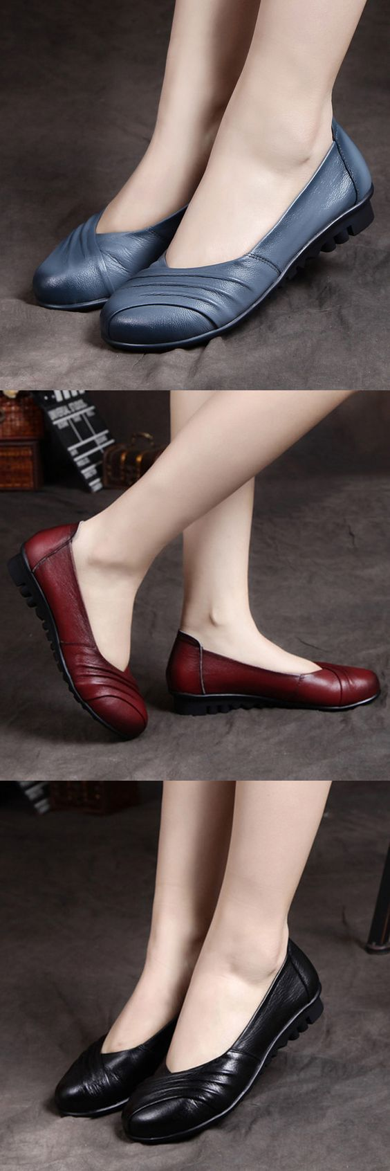 US$25.99 Socofy Pure Color Leather Handmade Retro Comfortable Flat Shoes