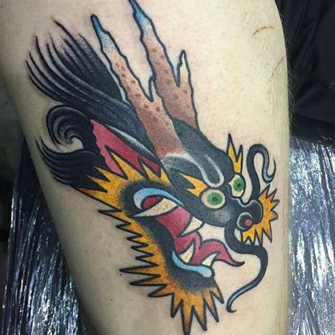 old school dragon head tatoo | tats