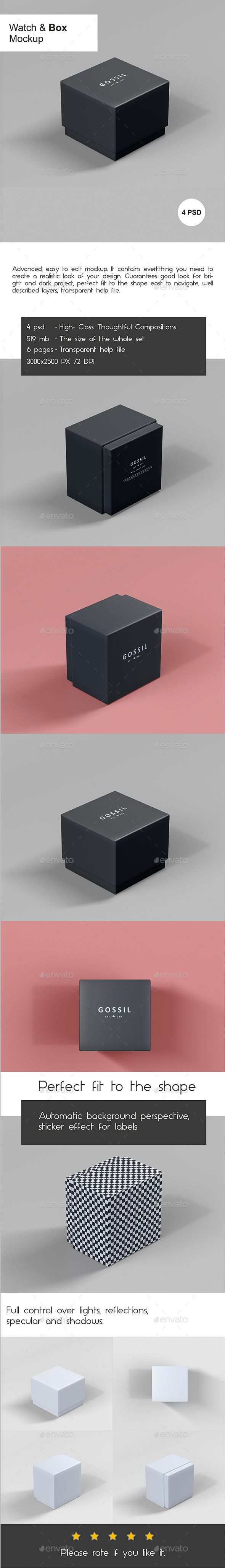 Download Watch Box Mock Up Box Mockup Mockup Design Packaging Mockup