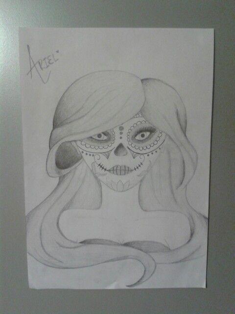 Dia De Los Muertos Ariel in pencil