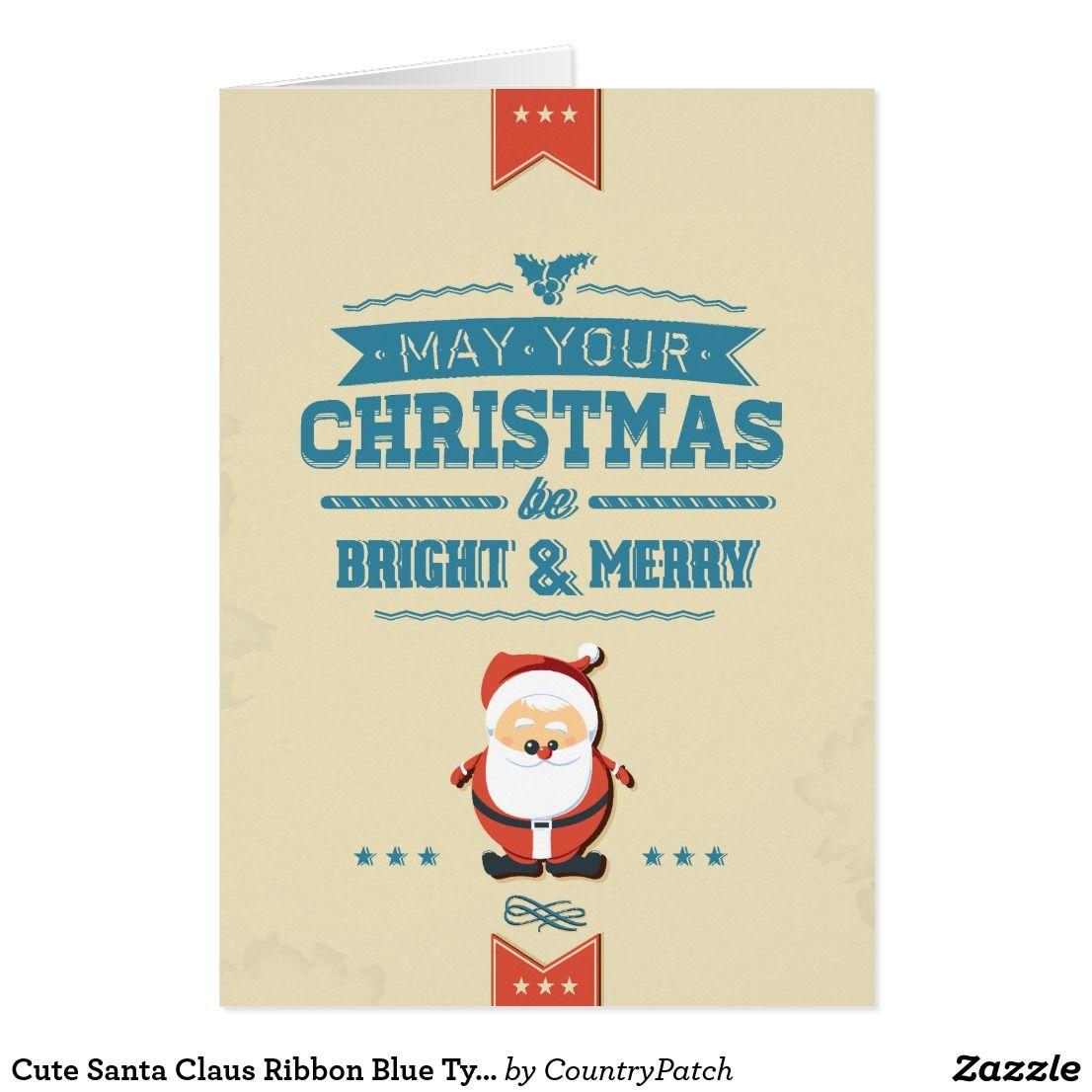 Cute Santa Claus Ribbon Blue Typographic Custom Christmas