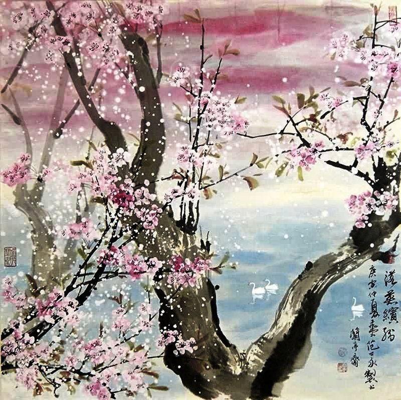 Vishnyovaya Krasota V Kitajskoj Zhivopisi Cherry Blossom Painting Cherry Blossom Art Chinese Cherry Blossom