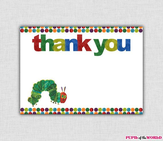 Hungry Caterpillar Birthday Party Thank You Card Printable INSTANT – Hungry Caterpillar Birthday Card