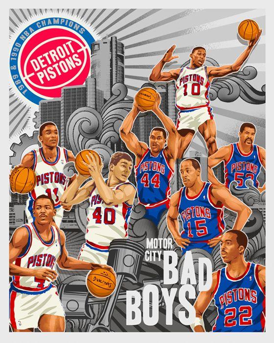 "MOTOWN BAD BOYZ"" by Mark Sgarbossa | Detroit pistons bad boys, Bad ..."