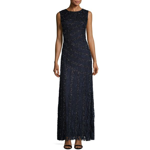 Aidan Mattox Women's Embellished Boatneck Dress - Size 2 ($239) ❤ liked on Polyvore featuring dresses, multi, a-line dresses, boatneck dress, aidan mattox, boat neck dress and aidan mattox dress