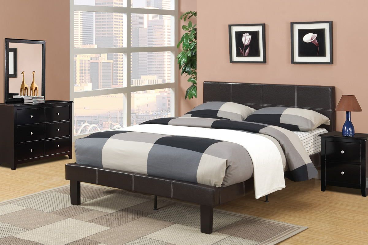Poundex F9212f Espresso Faux Leather Padded Full Size Bed Frame