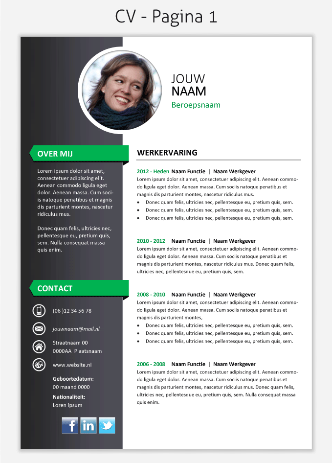 Cv Template  Om Te Downloaden  Cv  Portfolio Design