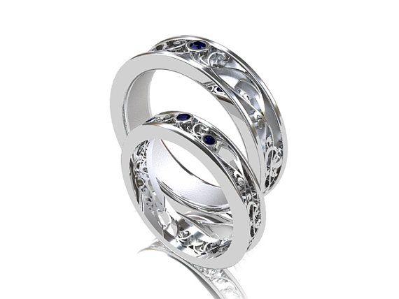 Wedding Band Set White Gold Sapphire By TorkkeliJewellery 332900