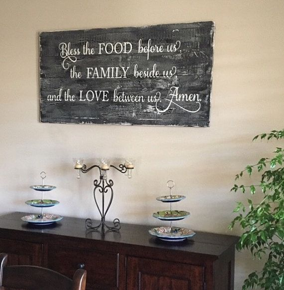 Large Kitchen Wood Sign Rustic Kitchen Sign Bless The Food Family Wood Signs Rustic Kitchen Wood Signs