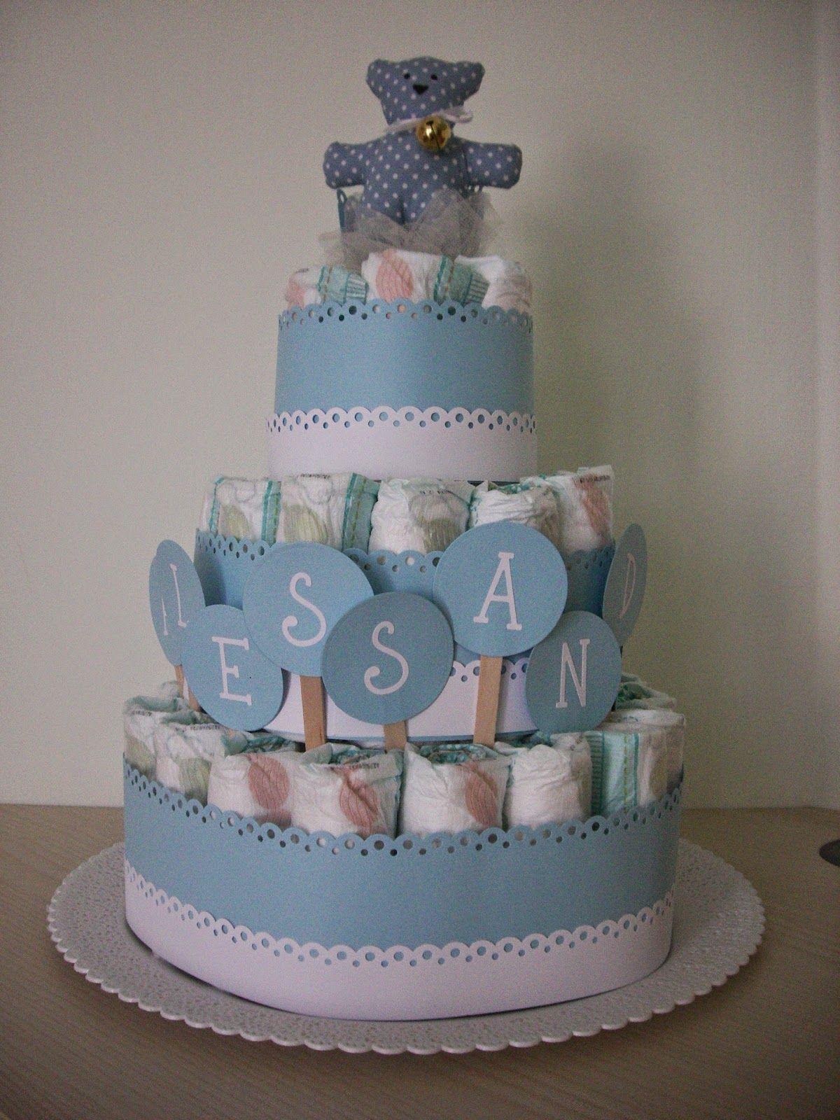 L\u0027angolo fatato di fefè Torte di pannolini in azzurro Baby Shower Per  Maschietti