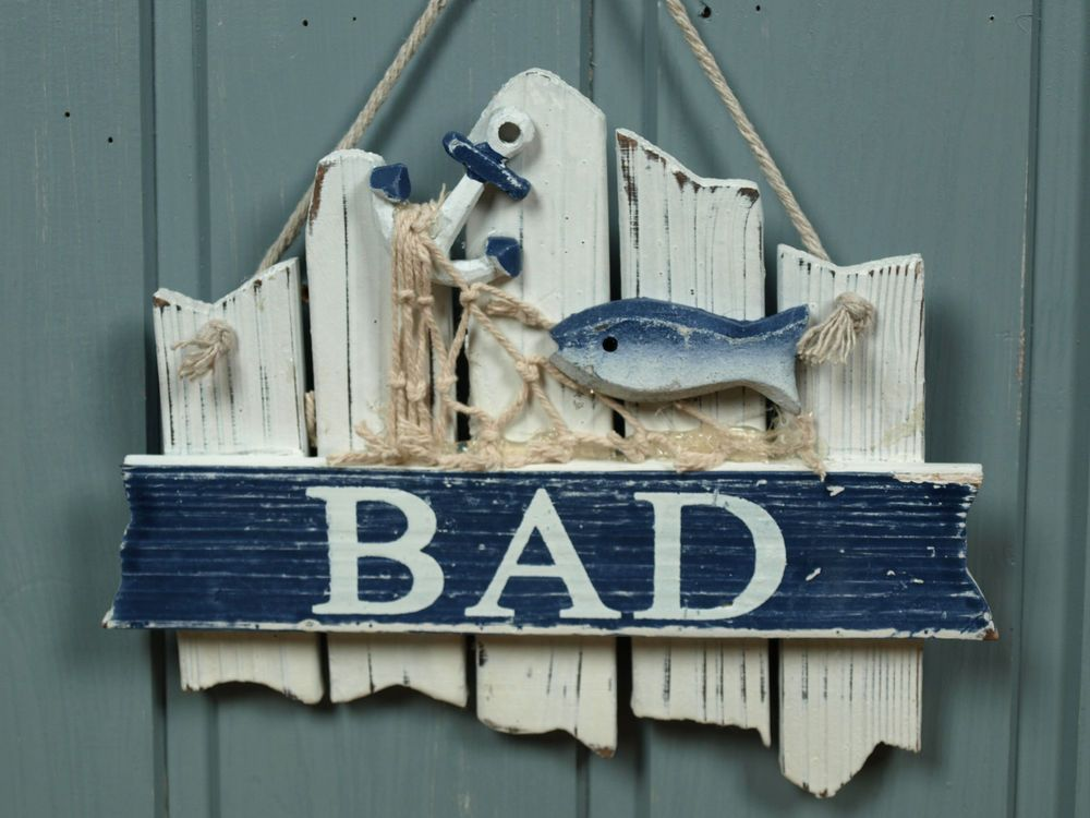 t rschild schild bad aus holz mit fisch ca 17x14cm maritime bad deko beach deko pinterest. Black Bedroom Furniture Sets. Home Design Ideas