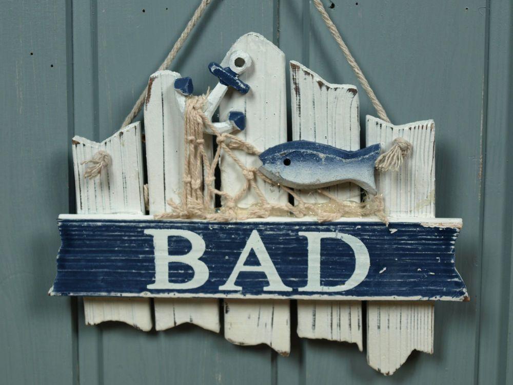 T rschild schild bad aus holz mit fisch ca 17x14cm for Bad deko maritim