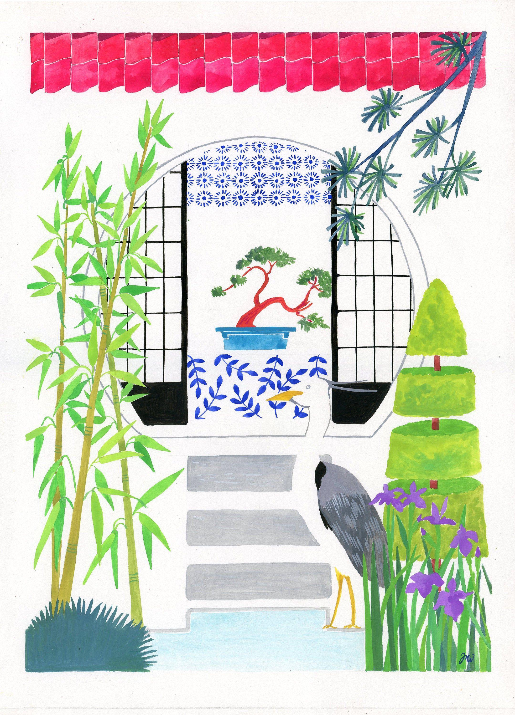 Japanese Garden Art Print Garden Wall Art Zen Garden