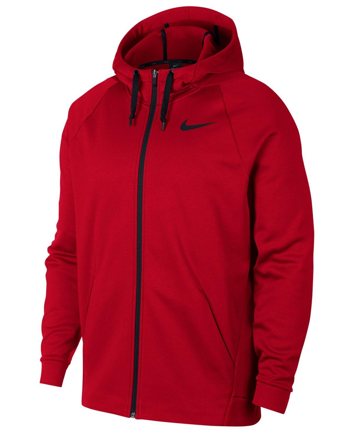 Nike Men S Therma Training Full Zip Hoodie University Red Full Zip Hoodie Hoodies Men Hoodies [ 1467 x 1200 Pixel ]