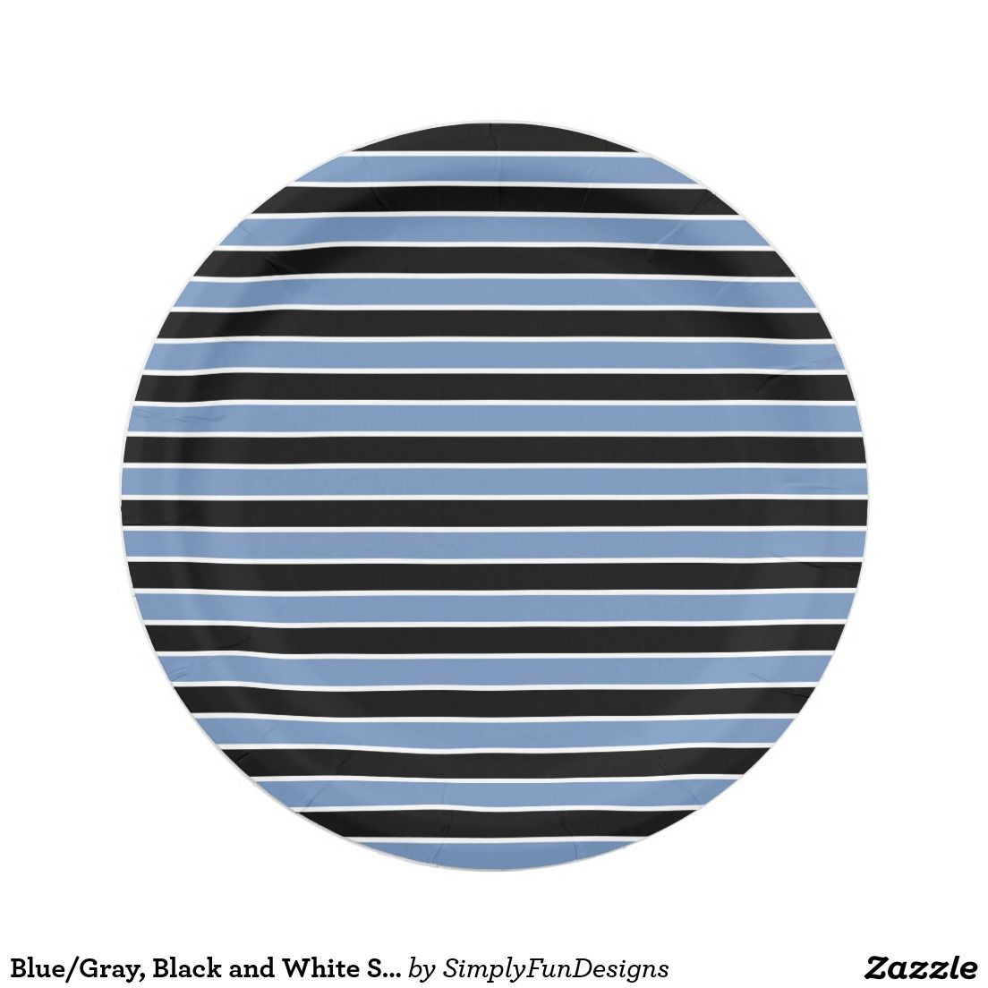 Blue/Gray Black and White Stripes Paper Plate  sc 1 st  Pinterest & Blue/Gray Black and White Stripes Paper Plate | Zazzle products ...