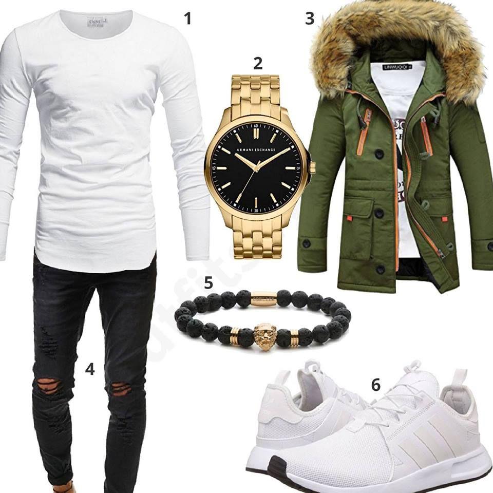mit Weißes Herrenoutfit Schwarz grüner WinterjackeOutfit n0OwP8k