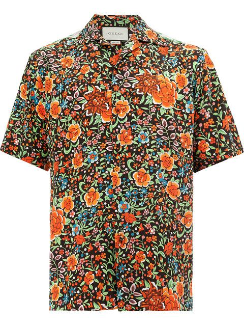 a16fe79665c Shop Gucci floral print shortsleeved shirt.